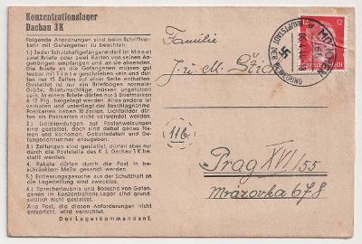Německo, Koncentrační tábor Dachau, skládaný předtištěný dopis, hezké