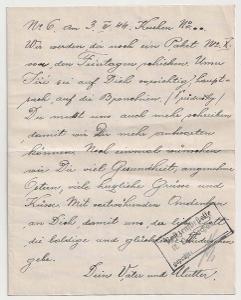 Německo, Koncentrační tábor Dachau, 2stránkový dopis zaslaný 4.4.1944