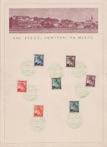 Protektorát, 2 kusy pamětních listů s pamětními razítky Lysá nad Labem