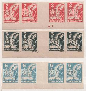 ČSR II., 1945, 2, 5 a 6 K Košické, dolní krajová 4známková meziarší