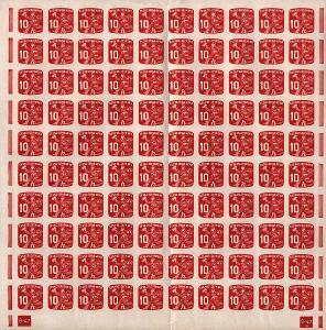 ČSR I., 1945, 10 h Poštovní Doručovatel, kompletní 100kusový arch