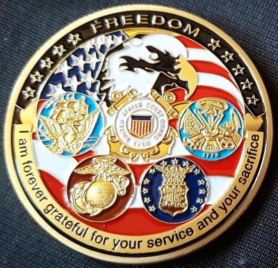 Americké námořnictvo - Velká pečeť Spojených států ,pozlacená medaile