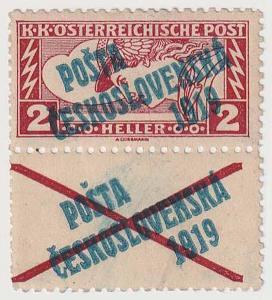 ČSR I., PČ 1919, 2 h Spěšná s přetistěným kuponem, Řz. 11 1/2, ověřeno