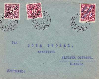 Pošta Československá, přetisky, R- ?? Praha 26.1.1920 -Slezská Ostrava