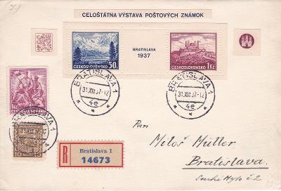 Slovensko, R- Bratislava, výstava známek, 31.12.1937, příl. obálka, v