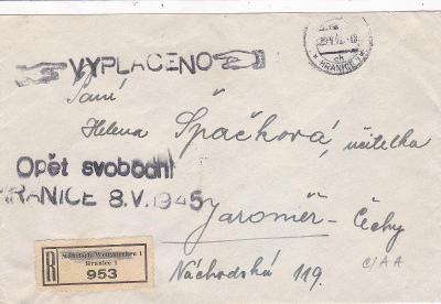 Hranice na Moravě 29.5.1945 (Přerov), osvobození 8.5.- Jaroměř, Náchod