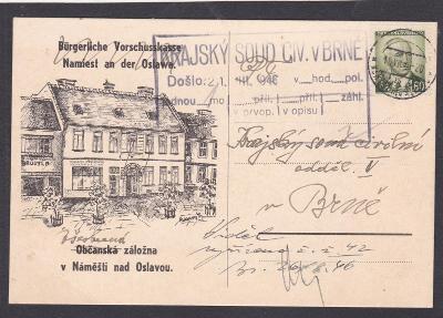 Firemní Náměšť nad Oslavou 1946 (Třebíč) - Brno.