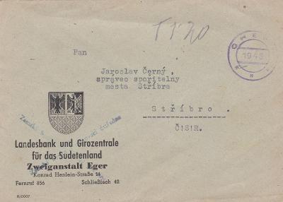 Sudetská,firemní Cheb,proviz. razítko 1945, vyznačené doplatné-Stříbro