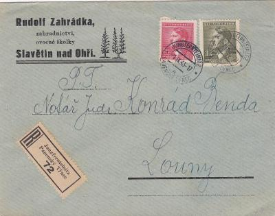 Firemní Slavětín n. O., R- Panenský Týnec 1943 - Louny, bez přích.
