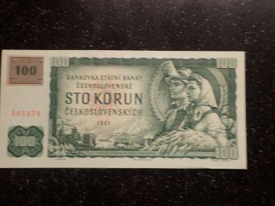 Česko 100 Kčs 1961, kolek, série G, UNC !!!