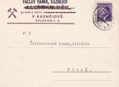 Firemní Kaznějov, vlaková pošta 346/a, Mladotice-Plzeň 1944, číslo
