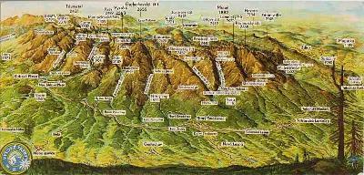 Vysoké Tatry, panoramatický pohled s popisem, kresba S.Vorel, DP