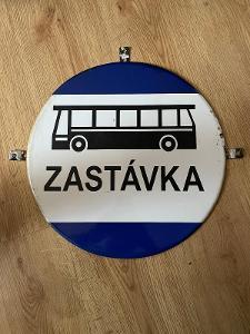 Stará cedule ČSAD AUTOBUS ZASTÁVKA originál
