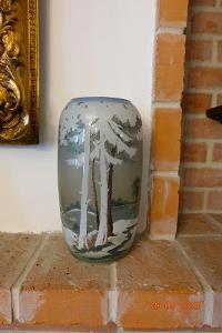 Secesní ručně malovaná skleněná váza!!!