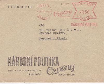 Firemní Praha, frankotyp 1944 - Nepomuk, Plzeň.