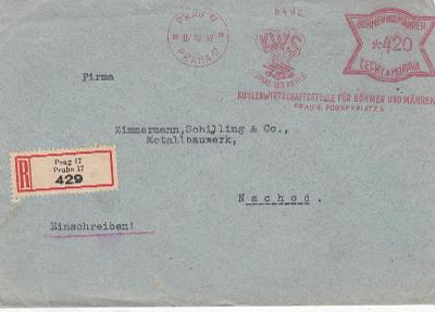 R- Praha, frankotyp 1942 - Náchod, s přích. 1943 vzadu.