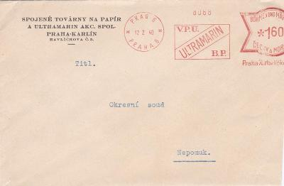 Firemní Praha-Karlín, frankotyp 1940 - Nepomuk, Plzeň.