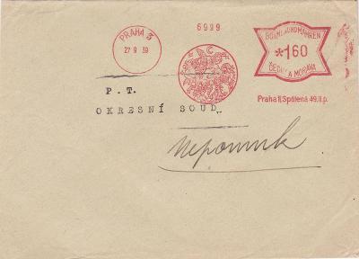 Frankotyp Praha 27.9.1939 - Nepomuk, Plzeň.
