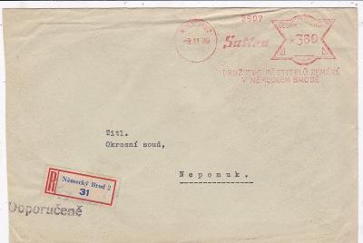 R- Havlíčkův Brod, ještě český frankotyp 9.11.1939-Nepomuk, Plzeň, bez