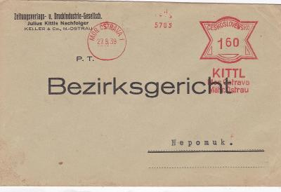 Firemní Ostrava, ještě český frankotyp 27.9.1939-Nepomuk, Plzeň