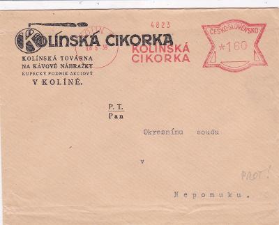 Firemní Kolín, ještě český frankotyp 18.5.1939-Nepomuk, Plzeň