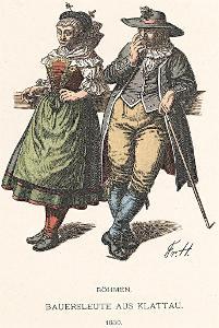 Kroj Klatovy vesničané, litografie, 1902