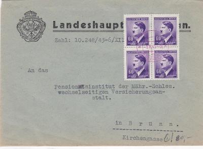 Úřední Brno, vylámané růžové Zbiroh 5.5.1945 (Rokycany) - Brno.
