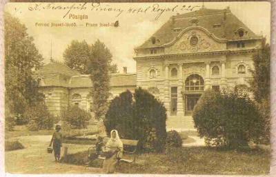Piešťany, bába na lavičce, rok 1912