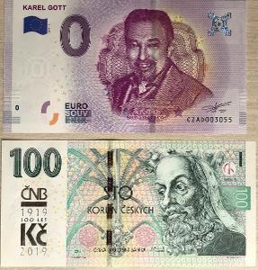 0 EUR KAREL GOTT + 100 Kč s přítiskem ČNB - stejné číslo 3055 !!!