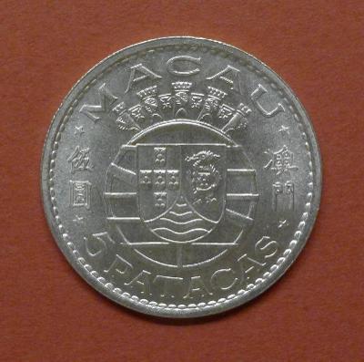 Stříbrný 5 Patacas Macao 1971