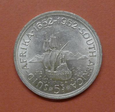 Stříbrný 5 Shillings Jižní Afrika 1952 Jiří VI. - 300 let Cape Town