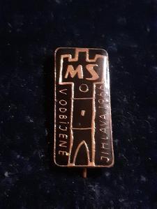 Odznak MISTROVSTVÍ SVĚTA V ODBÍJENÉ JIHLAVA 1966