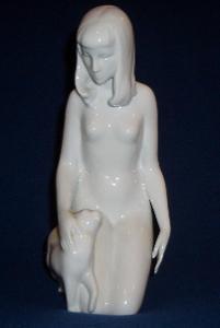 Royal Dux - akt dívka s kočkou (60. - 70. léta)