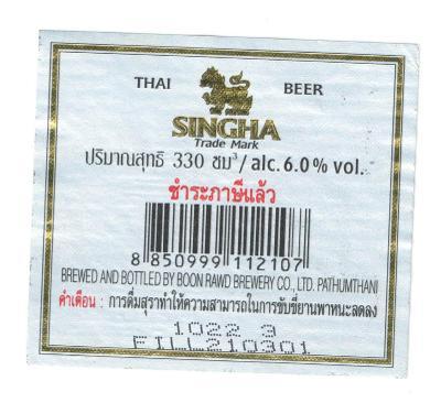 Pivní etiketa Thajsko
