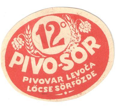 Velmi stará etiketa pivovar Levoča