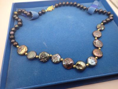 Náhrdelník pravé tahitské perly délka 47cm