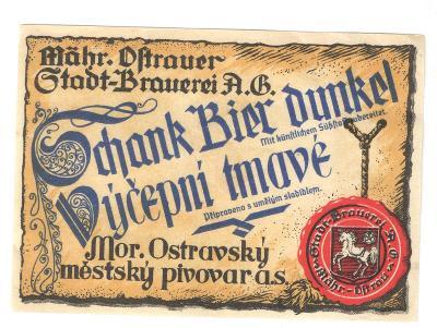 Velmi stará etiketa pivovar Ostrava