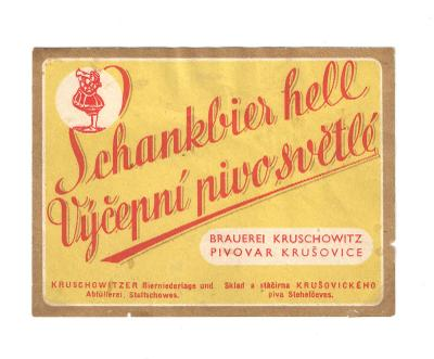 Velmi stará etiketa pivovar Stehelčeves Krušovice
