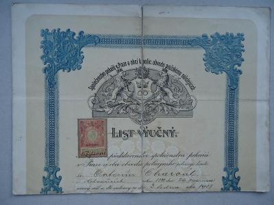 List výučný na pekaře - A.Charvát - Praha , 1906