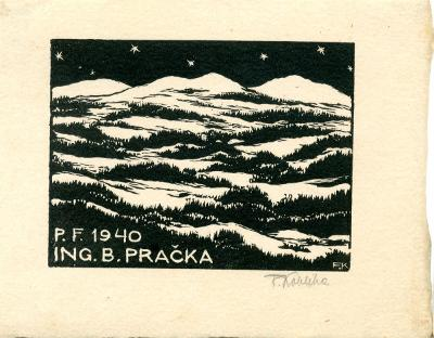 František Kobliha: P. F. 1940 Ing. B. Pračka (signováno)
