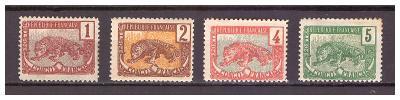 """Francouzské Kongo 1900 """"Definitive Congo Français"""" Michel 30-33"""
