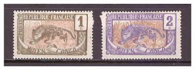 """Střední Kongo 1907 """"Definitives (1907-1922)"""" Michel 1-2"""