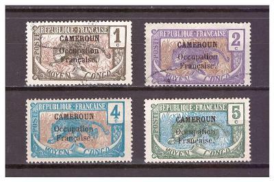 """Kamerun 1916 overprint """"CAMEROUN Occupation.."""" Michel 30-33"""
