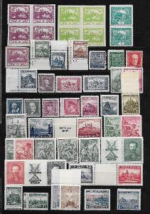 ČSR 1918-1939, ČISTÉ/NEPOUŽITÉ ZNÁMKY NA SEDMI DESKÁCH, BEZ NÁLEPKY