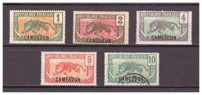 "Kamerun 1921 Country Symbols overprint ""CAMEROUN"" Michel 47-51"