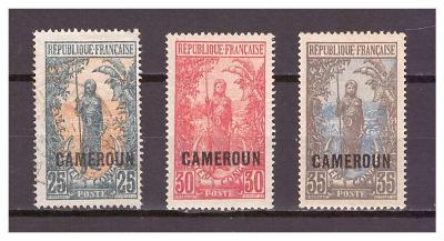 "Kamerun 1921 Country Symbols overprint ""CAMEROUN"" Michel 54-56"