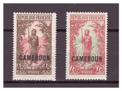 "Kamerun 1921 Country Symbols overprint ""CAMEROUN"" Michel 58,60"