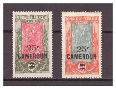 "Kamerun 1924 Country Symbols overprint ""CAMEROUN"" Michel 64-65"