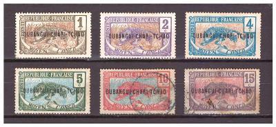 "Ubangi-Šari 1915 ""Overprints OUBANGHI-CHARI-TCHAD"" Michel 1-6"