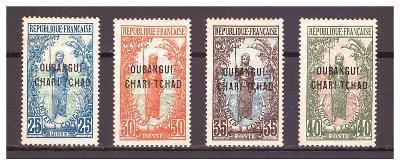 "Ubangi-Šari 1915 ""Overprints OUBANGHI-CHARI-TCHAD"" Michel 8-11"